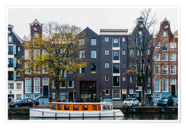 Premiumposter  Dutch Houses Architecture Along Amsterdam Water Canal - Radu Bercan