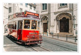 Premiumposter  Red Tram Travelling In Lisbon City - Radu Bercan