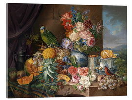 Akrylglastavla  Still life with fruits flowers and parrot - Joseph Schuster