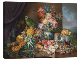 Canvastavla  Still life with fruits flowers and parrot - Joseph Schuster