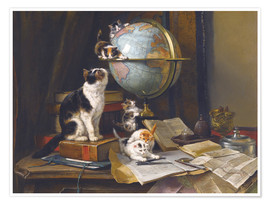 Premiumposter A cat with a globe