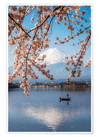Premiumposter Mt. Fuji in springtime with cherry trees