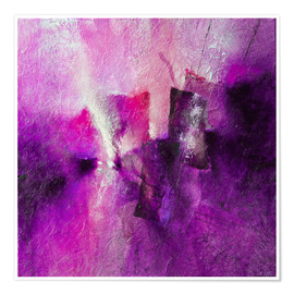 Poster  abstract composition with magenta - Annette Schmucker