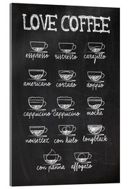 Akrylglastavla  Coffee variants - Typobox