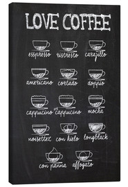Canvastavla  Love coffee - Typobox