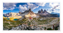 Premiumposter Panorama of Refuge Antonio Locatelli, South Tyrol