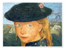 Poster Head of a little girl with straw hat