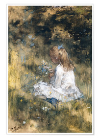 Premiumposter Daughter of Jacob Maris with flowers in the grass