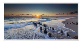 Premiumposter  Groynes in the sunset - Heiko Mundel