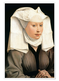 Premiumposter Portrait of a Woman with a Winged Bonnet