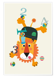 Poster  Colourful counting lion - Jaysanstudio