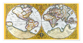 Premiumposter World map around 1587