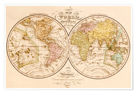 Premiumposter World map around 1844