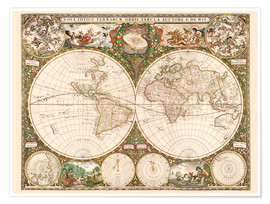 Premiumposter World map around 1660