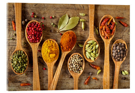 Akrylglastavla  Colorful spices in wooden spoons - Elena Schweitzer