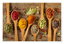 Premiumposter  Colorful spices in wooden spoons - Elena Schweitzer