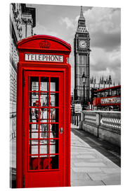 Akrylglastavla  London telephone box and Big Ben - Art Couture