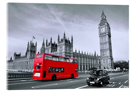 Akrylglastavla  Red bus on Westminster Bridge, London - Art Couture