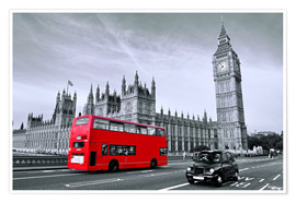 Poster  Red bus on Westminster Bridge, London - Art Couture