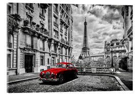 Akrylglastavla  Paris in black and white with red car - Art Couture