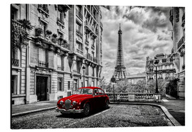 Aluminiumtavla  Paris in black and white with red car - Art Couture