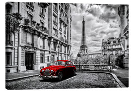 Canvastavla  Paris in black and white with red car - Art Couture