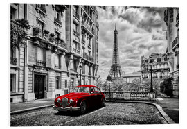 PVC-tavla  Paris in black and white with red car - Art Couture