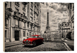Trätavla  Paris in black and white with red car - Art Couture
