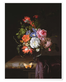 Premiumposter A Still Life of Flowers in a vase on a ledge