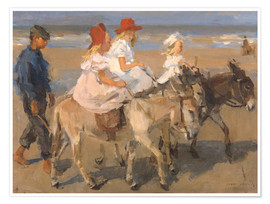 Premiumposter  Donkey rides on the beach - Isaac Israels