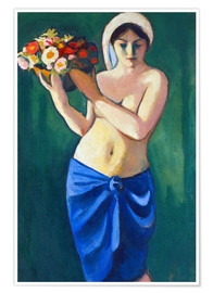 Premiumposter Woman, carrying a flower cup