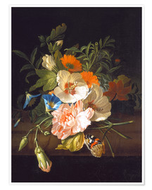 Premiumposter Floral still life with butterflies on a stone bench
