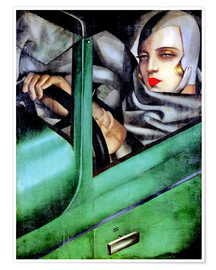 Poster  Self-Portrait in a Green Bugatti - Tamara de Lempicka