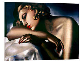Akrylglastavla  The sleeping girl - Tamara de Lempicka