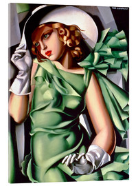 Akrylglastavla  Young lady with gloves - Tamara de Lempicka
