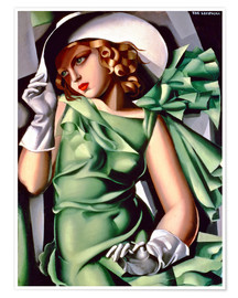 Premiumposter Young lady with gloves
